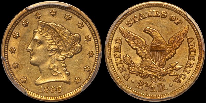 1856-O $2.50 PCGS AU58 CAC