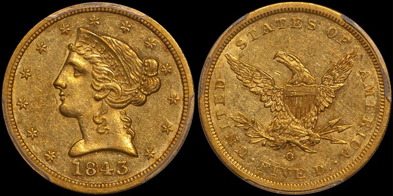 1843-O Small Letters $5.00 PCGS AU55 CAC