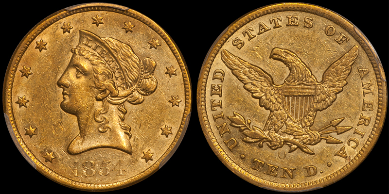 1854-O Small Date $10.00 PCGS AU55