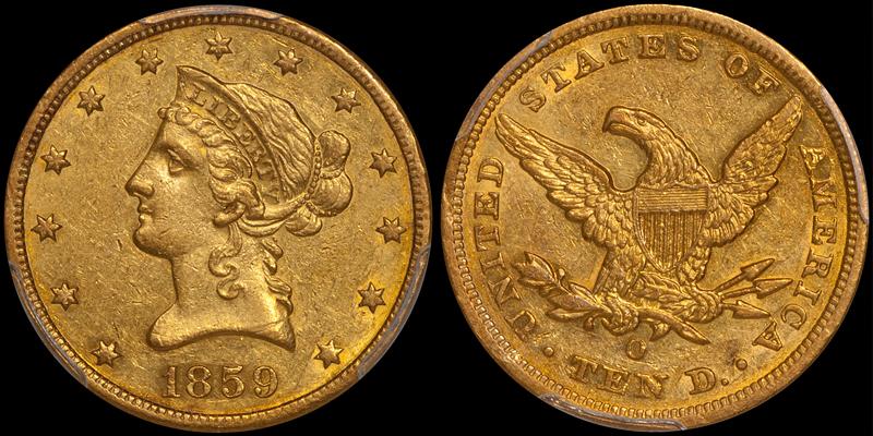 1859-O $10.00 PCGS AU55 CAC