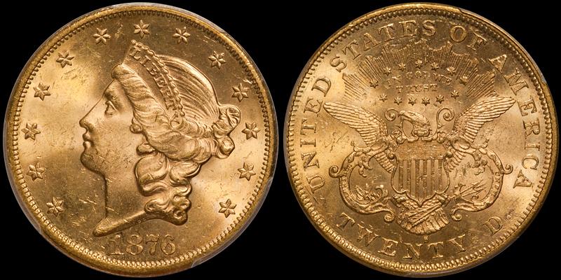 1876-S $20.00 PCGS MS63+ CAC
