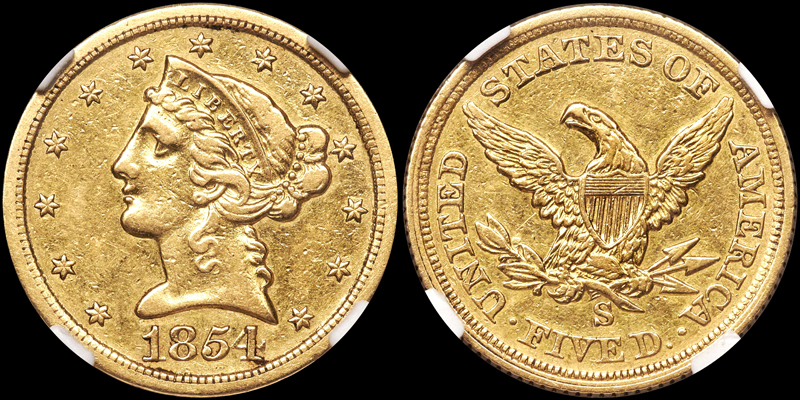 1854-S $5.00 NGC EF45, courtesy of Heritage