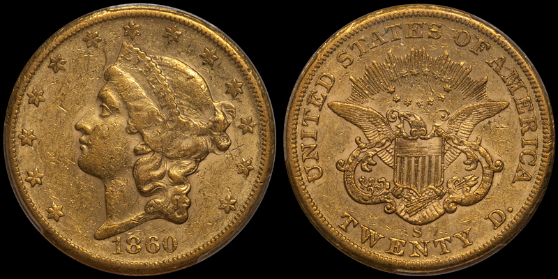 1860-S $20.00 PCGS AU55 CAC