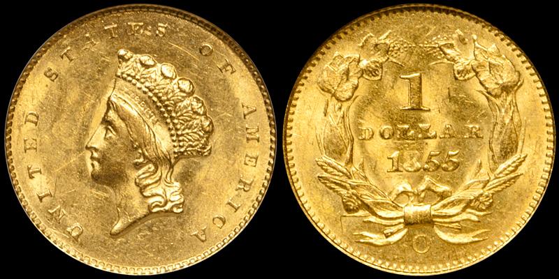 1855-O $1.00 NGC MS63
