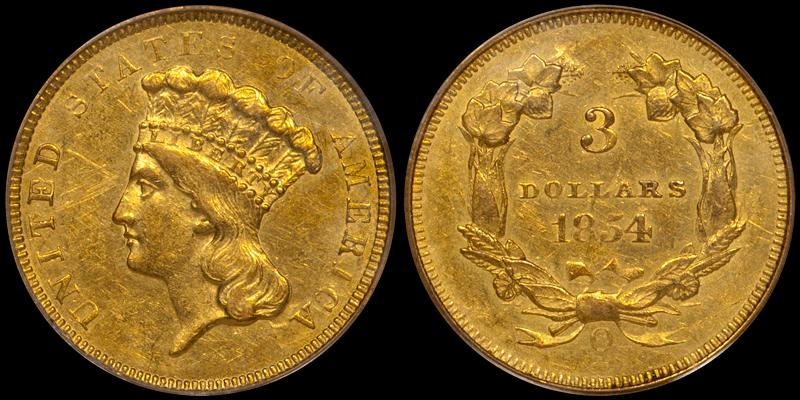 1854-O $3.00 PCGS AU58
