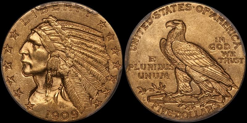 1909-O $5.00 PCGS MS61 CAC