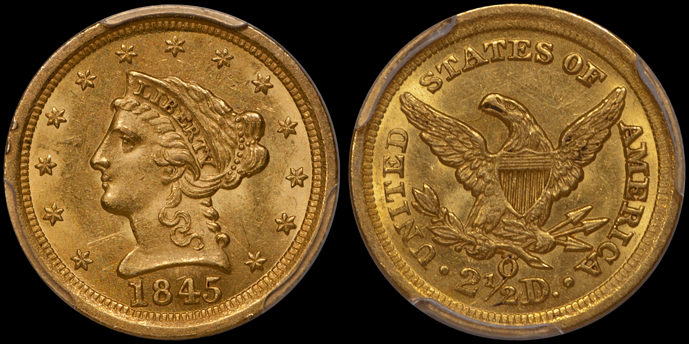 1845-O $2.50 PCGS MS61 CAC; newly discovered, second finest known