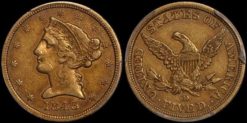 1843-D $5.00 PCGS VF35 CAC