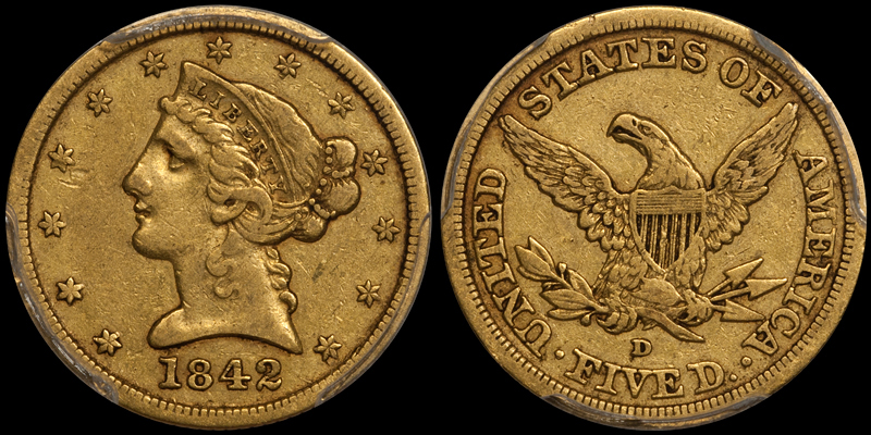 1842-D Large Date $5.00 PCGS VF35 CAC