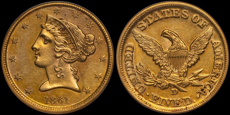 1861-D $5.00 PCGS AU53