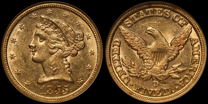 1855-D $5.00 NGC MS61