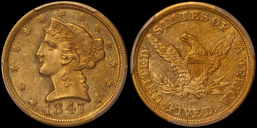 1847-O $5.00 PCGS MS61 CAC