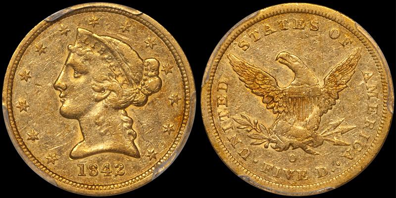 1842-O $5.00 P45 CAC