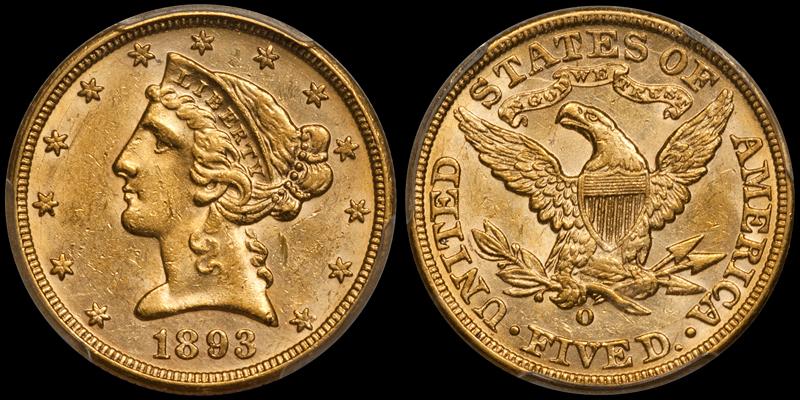 1893-O $5.00 PCGS MS61 CAC