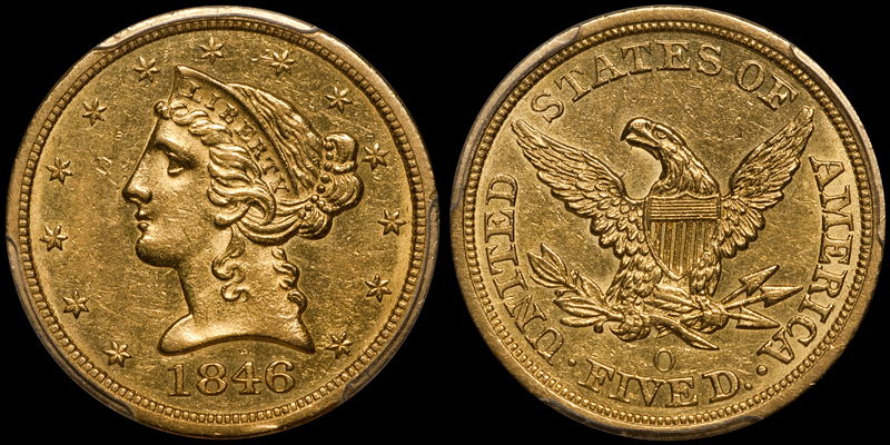 1846-O $5.00 PCGS AU55
