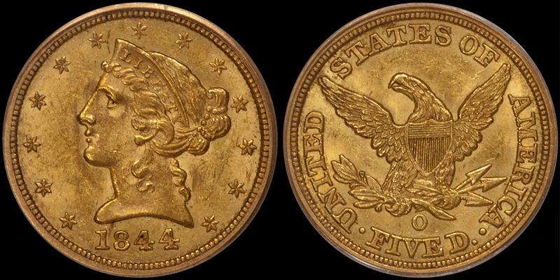 1844-O $5.00 PCGS MS61 CAC