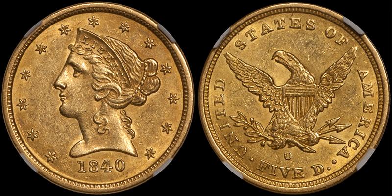 1840-O $5.00 NGC MS61