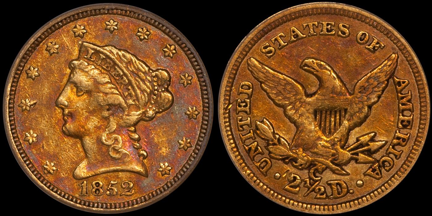 1852-C $2.50 PCGS EF45 CAC