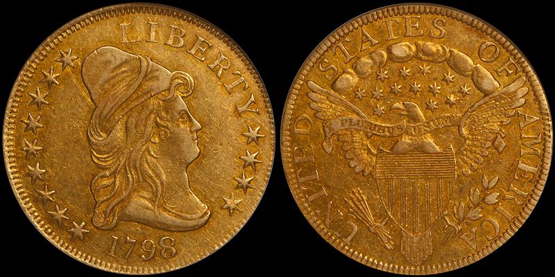 1798/7 9x4 Stars $10.00 NGC AU58 CAC