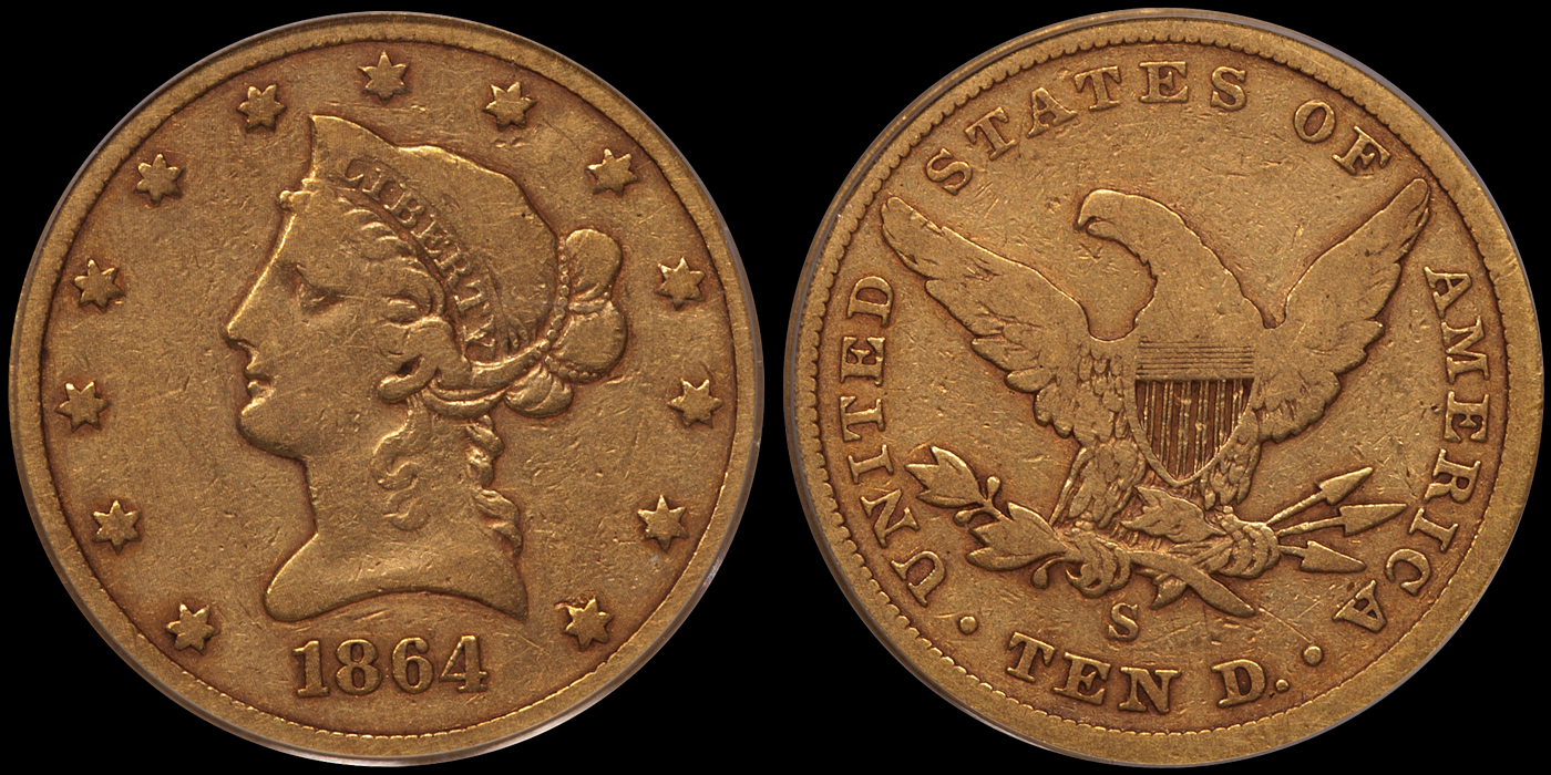 1864-S $10.00 PCGS VG10 CAC Gold Sticker, Old Green Holder