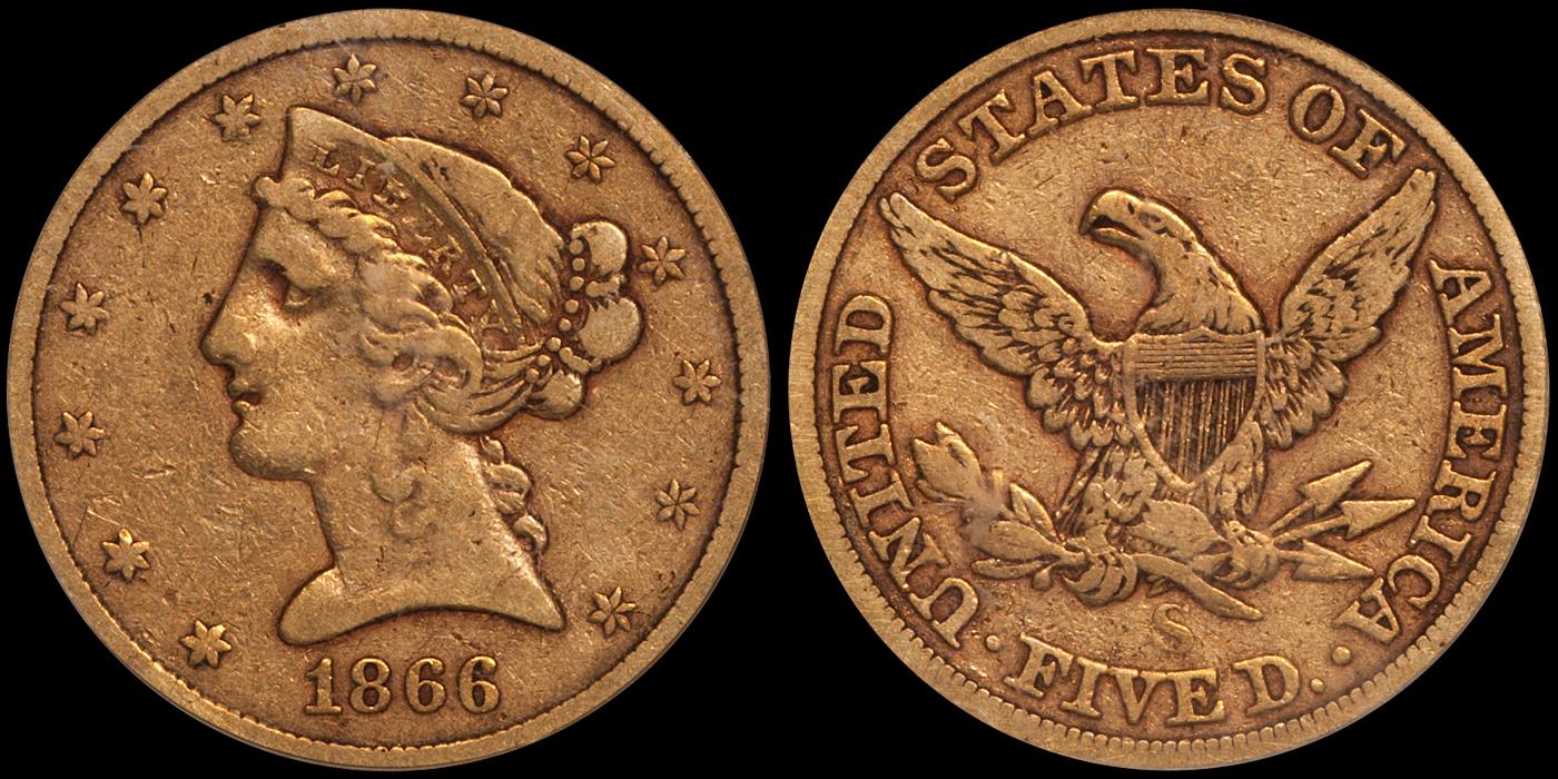 1866-S No Motto $5.00 PCGS VF20 CAC