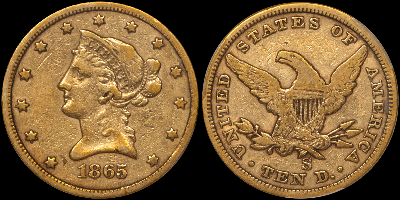 1865-S Normal Date $10.00 PCGS VF25