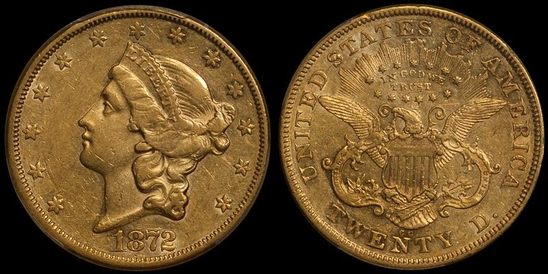 1872-CC $20.00 PCGS AU50