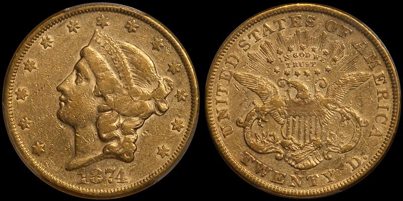 1874-CC $20.00 PCGS EF40