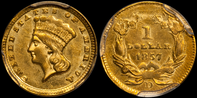 an 1857-D $1.00 in PCGS MS61 with CAC approval, sold by DWN in 2016