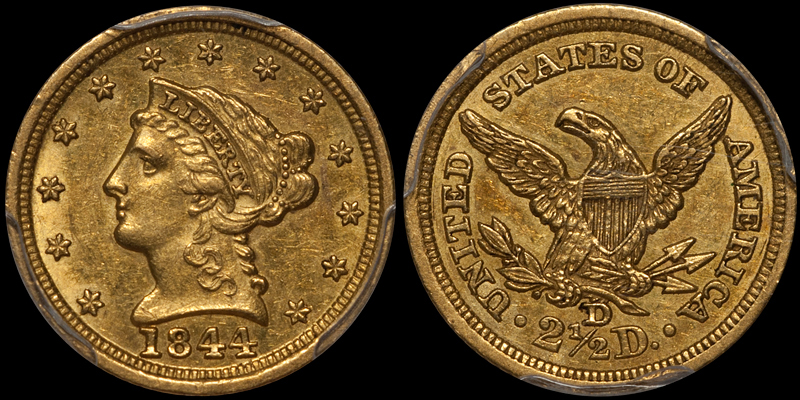 an 1844-D $2.50 in PCGS AU58 with CAC approval, sold by DWN in 2015