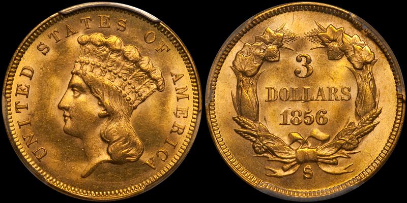 an 1856-S $3.00 in PCGS MS64 sold by DWN in 2018