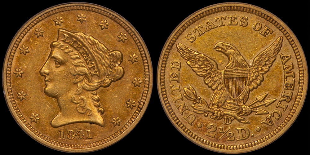 1841-D $2.50 PCGS AU50, CAC Gold Sticker