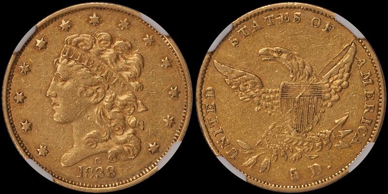 1838-C $5.00 NGC AU50 CAC