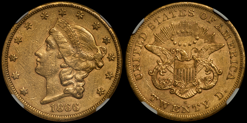 1866-S No Motto $20.00 NGC AU53 CAC