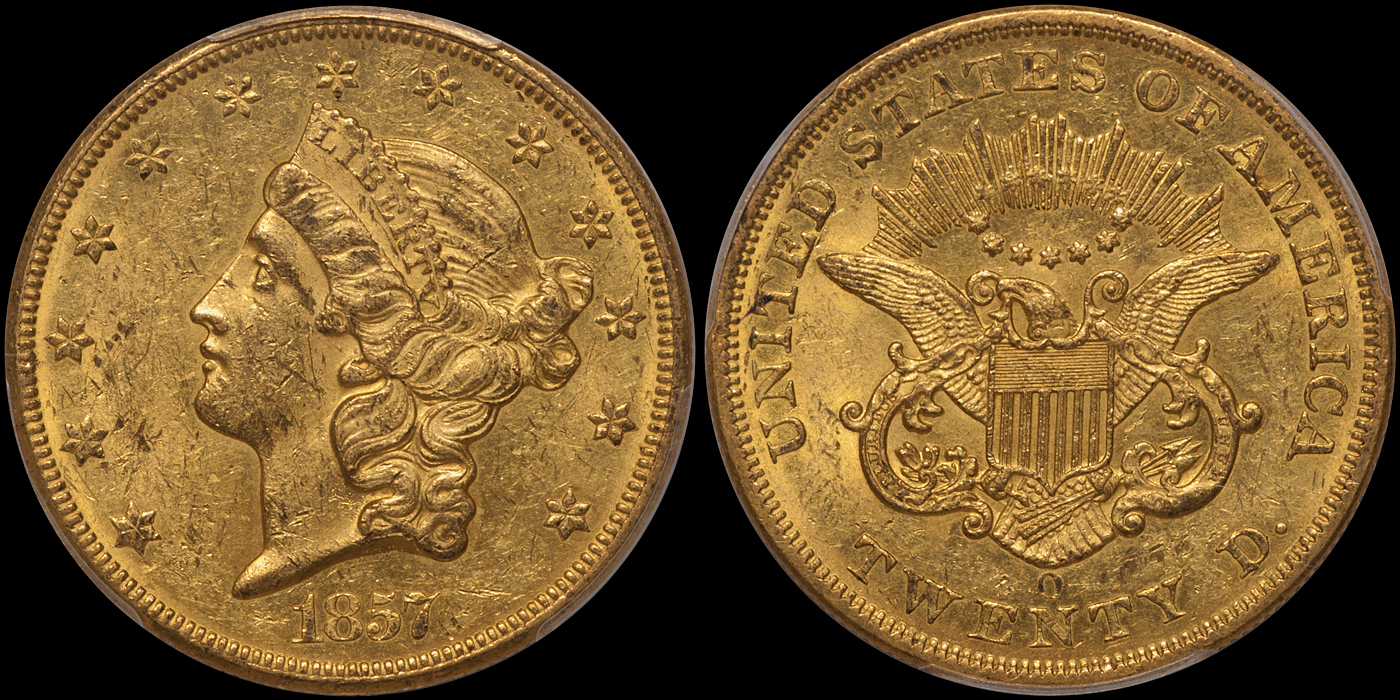 1857-O $20.00 PCGS MS60, ex Fairmont