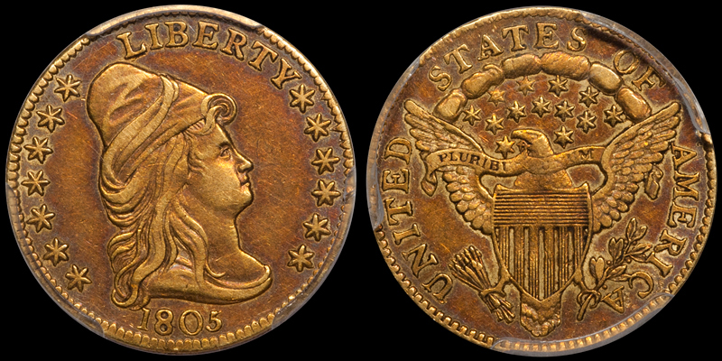A toned 1805 $2.50 graded PCGS AU50 by PCGS from the DWN archives