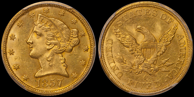 1857-C $5.00 PCGS MS63 CAC, from  The Arlington Collection