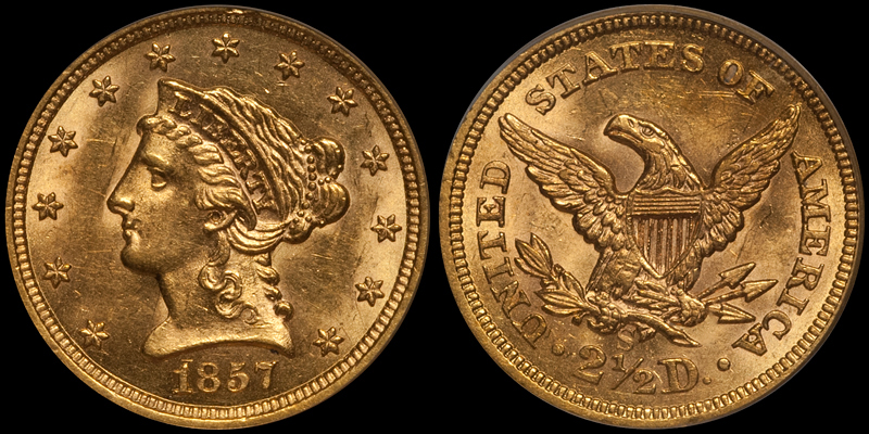 1857-S $2.50 PCGS MS62 CAC