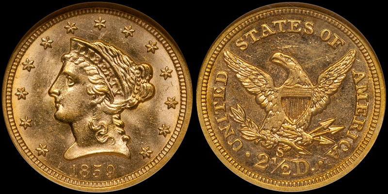 1859-S $2.50 NGC MS63 CAC