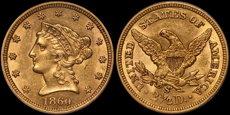 1860-S $2.50 PCGS AU58 CAC