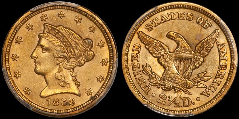 1862-S $2.50 PCGS AU58 CAC