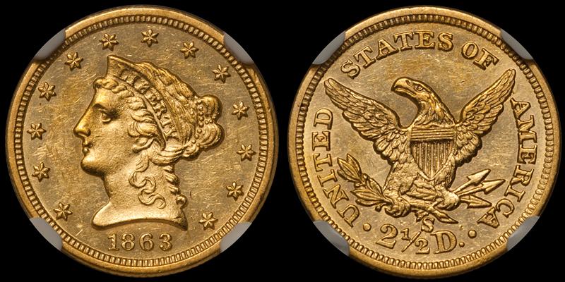 1863-S $2.50 NGC MS61