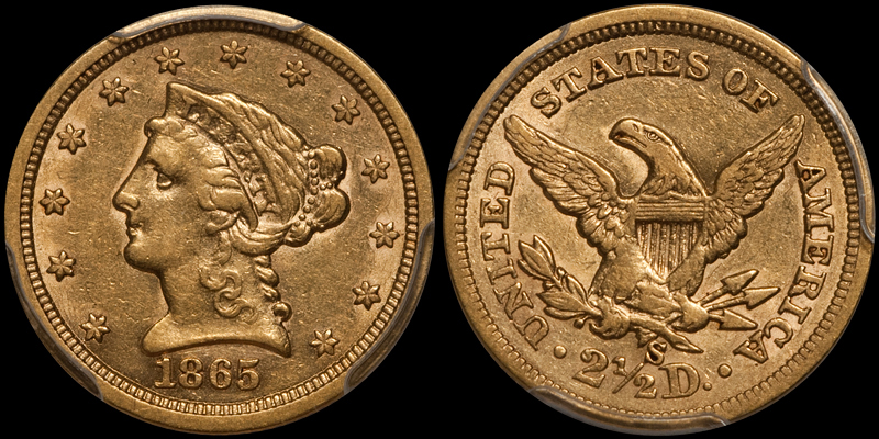 1865-S $2.50 PCGS AU50 CAC