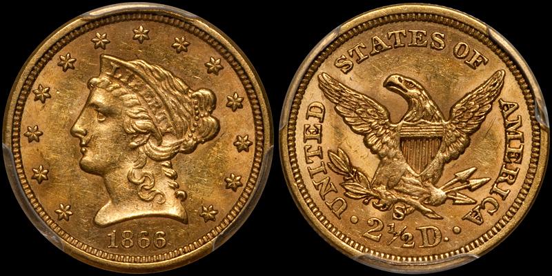 1866-S $2.50 PCGS MS61 CAC
