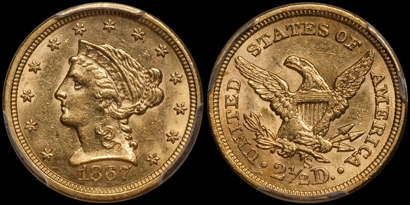 1867-S $2.50 PCGS MS61 CAC
