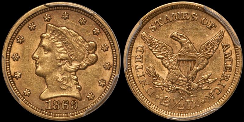 1869-S $2.50 PCGS AU58 CAC