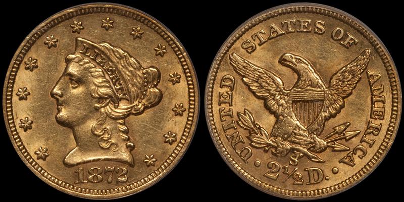 1872-S $2.50 PCGS AU58 CAC