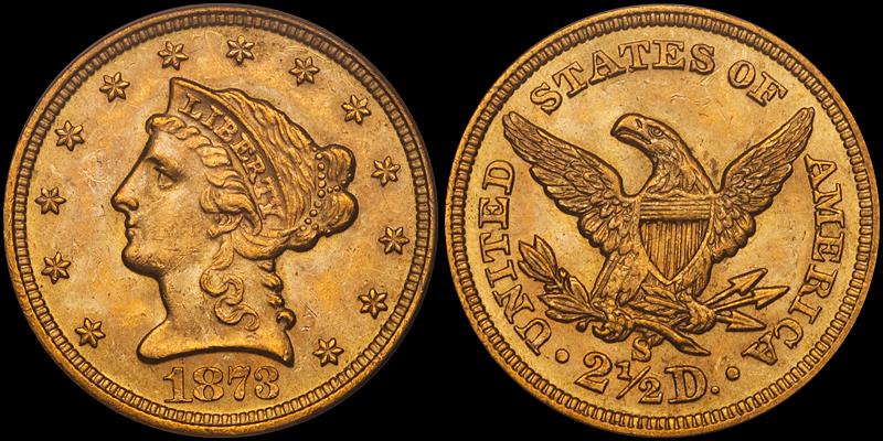 1873-S $2.50 PCGS MS64