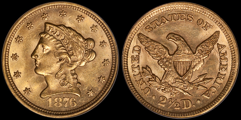 1876-S $2.50 PCGS MS62 CAC