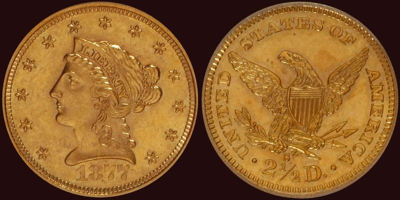1877-S $2.50 NGC MS62